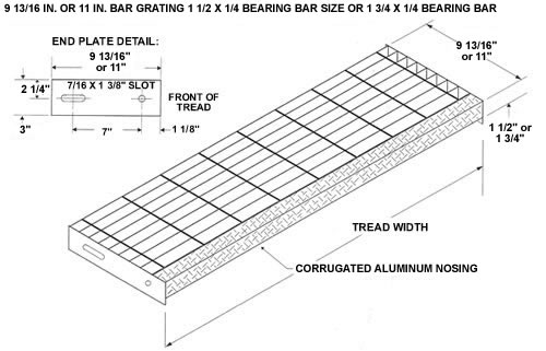 bar grating stair treads  welded steel treads  galvanized