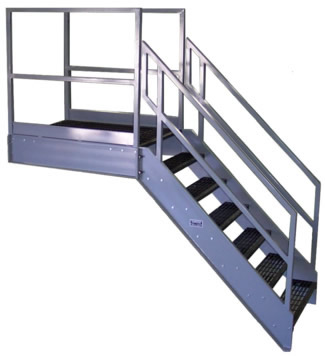 Aluminum OSHA Stair with Outboard Guard, Galvanized Stairs
