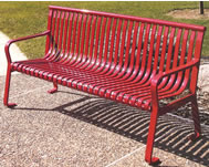 metal bench with straight back
