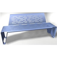 double folded steel bench with back