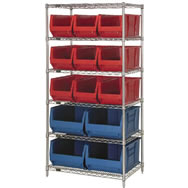 "30"" and 36"" deep hulk bin shelving units"