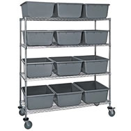 chrome wire shelving with bins