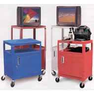 color metal utility carts with security cabinet