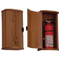 Fire Extinguisher oak cabinets