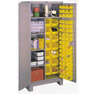 all welded storage cabinets w/removable plastic bins