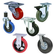 complete caster and wheel assemblies