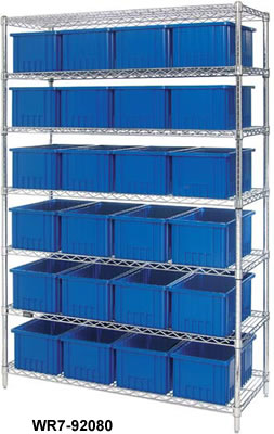 Chrome Wire Shelving System with Stack and Nest Totes, Chrome Wire ...