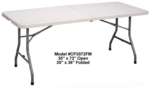 Rectangular 30x72 For Easy Transportation Gray Granite Correll CP3072FM Light Weight Blow Molded Fold in Half Table