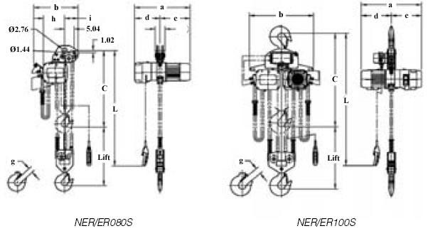 harrington er large capacity electric chain hoists