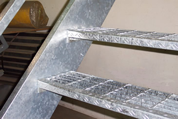Merveilleux Galvanized Frame With Galvanized Bar Grating Treads Shown Above.