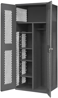 Janitorial Cabinets With Wardrobe/Broom Storage, 1 Fixed Shelf U0026 4  Adjustable Shelves