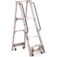 mobile aluminum material handling ladder