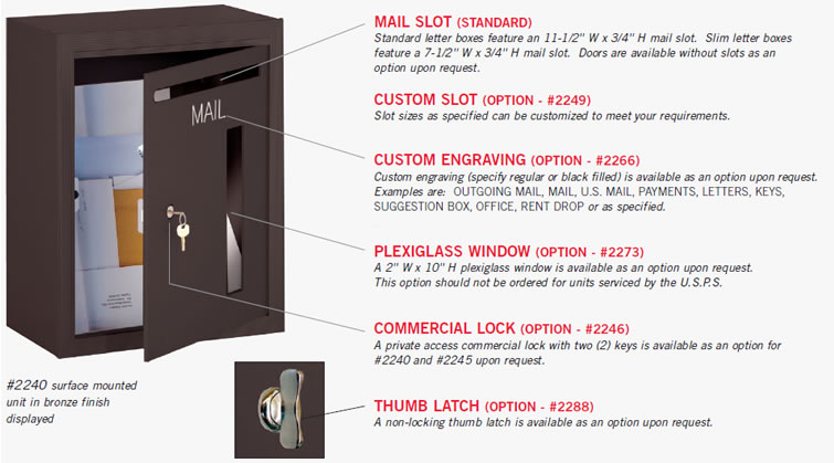 Recessed Letter Box (#2245) And (2) Mail Drops (#2255) With Optional Custom  Black Filled Engraving (#2266) Displayed.