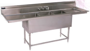 stainless steel sinks three compartment sinks
