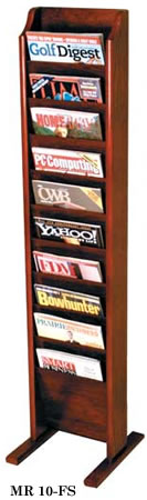 Oak Magazine Floor Racks, Floor Magazine Racks