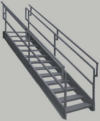 OSHA Stairs With Outboard Guard, Galvanized Stairs, Industrial Stairs,  Metal Stairs, Open Tread Stair, OSHA Prefab Stairways, Outdoor Steel Stairs,  ...