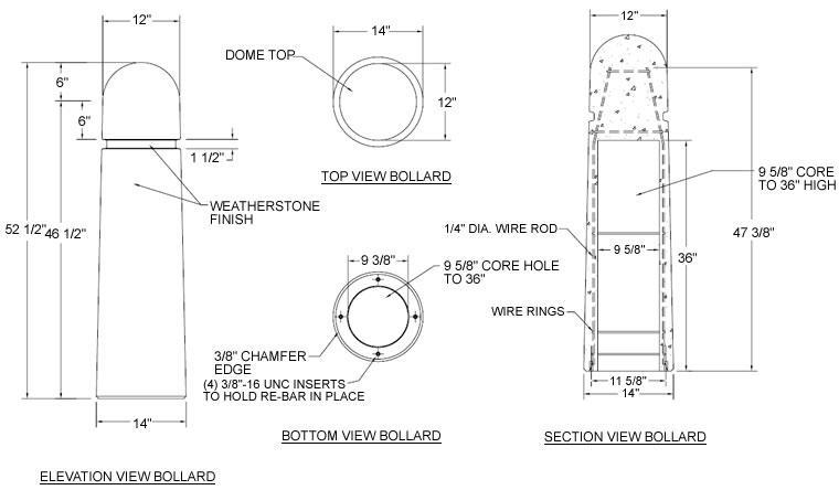 Round concrete bollard with reveal lines round concrete bollard tf60231 drawing asfbconference2016 Choice Image