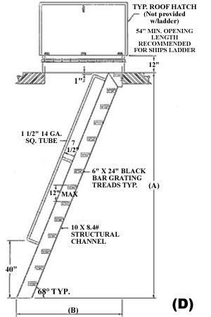 ships ladder 60 deg ibc design hatch access roof access ladder bar diagrams