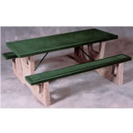 concrete and steel tables