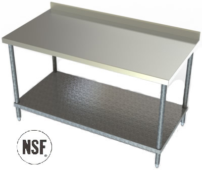 tgs series stainless steel 2 34 backsplash galvanized steel undershelf stainless steel work table