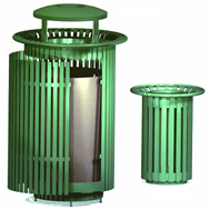 steel trash receptacles and snuffers