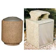 concrete trash receptacles