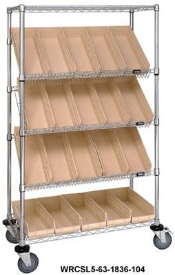 Wire Slanted Shelf Cart Chrome Slanted Mobile Wire Cart