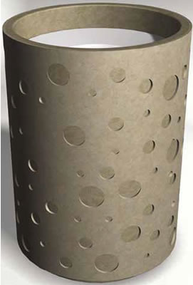 Concrete Waste Container With Cast-In Patterns, Metal ...
